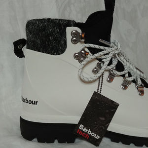 02aa9b1fae9 Barbour Hiking Boots Rubber 90s Rave White 7 New NWT